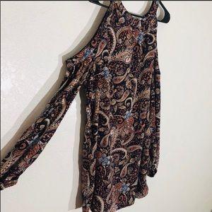 Band of gypsies boho cold shoulder paisley dress M